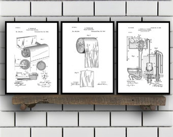 Toilet Patents Set of 3 Prints, Toilet Prints, Toilet Posters, Toilet Blueprints, Toilet Art, Toilet Wall Art, Toilet Prints Sp306