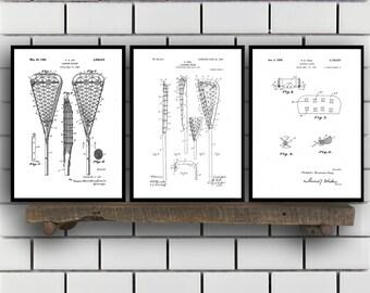 Lacrosse Patents Set of 3 Prints, Lacrosse Prints, Lacrosse Posters, Lacrosse Blueprints, Lacrosse Art, Badminton Wall Art, Sports SP447