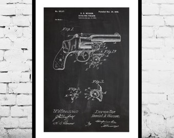 Wesson Revolver Poster Wesson Pistol Patent Wesson Pistol Print Wesson Pistol Art Wesson Pistol Decor Wesson Pistol Blueprint Revolver p1274