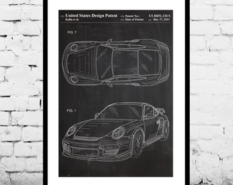 Porsche 911 Patent, Porsche 911 Poster, Porsche 911 Print, Porsche 911 with Spoiler, Porsche Art p917