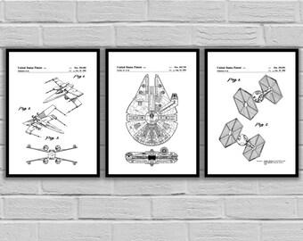 Star Wars patent, Millennium Falcon Star Wars Poster, Tie Bomber Star Wars Patent, Millennium Falcon Star Wars Print, Millennium FalconSP536