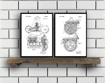 Ford Patent SET of 2 Henry Ford Patent  Ford Motors Art  Ford Transmission Patent  Mancave Decor  Ford Carb SP449