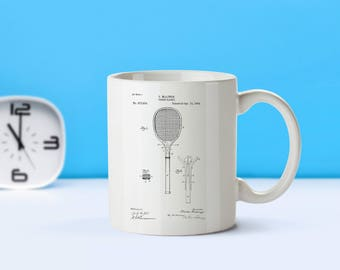 Tennis Racket patent mug  coffee mug  coffee lover  patent art  patent mug  Tennis Decor Vintage Coach Gift Sports CollectibleM19