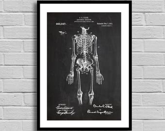 Vintage Skeleton Patent Human Spine Print Skeleton Poster Anatomical Skeleton Medical Skeleton Doctors Office Decor Bones p958