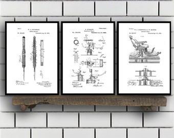 Dentist Patent Prints, Dentist Set of THREE, Dentist Invention Patent, Dentist Poster, Dentist Print SP285