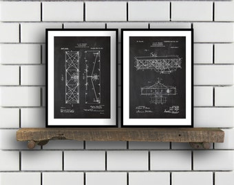 Wright Brothers Related Patent Set of TWO Wright Brothers Invention Patent Airplane Poster Airplane PrintAirplane Inventions SP190