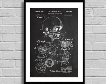 Football Helmet Patent, Football Helmet Patent Poster, Football Helmet Blueprint, Football Helmet Print, Sports decor, Vintage, Coach p794