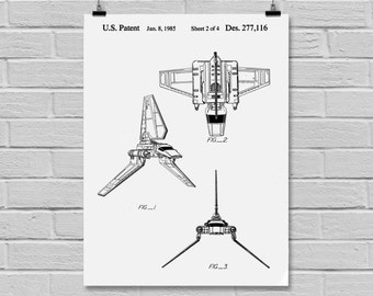 Star Wars patent Star Wars Poster Imperial shuttle Star Wars Patent B-wing Star Wars Print Millennium Falcon black and white p940
