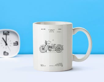 Harley Davidson Motorcycle patent mug  coffee mug  coffee lover  patent art  patent mug  Harley DavidsonMotorcycle DecorVintageM215