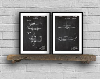 Airplane Poster set of 2  Airplane prints  Airplane Poster  Airplane mixer pack  Vintage Airplane Patents  Pilot  Flying Sp77
