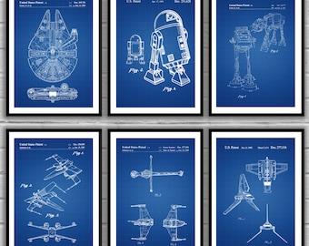 Star Wars patent, Millennium Falcon, Tie Bomber, X-wing, AT-AT, Star Wars Poster, Star Wars Patent, Millennium Falcon Star Wars Print SP542