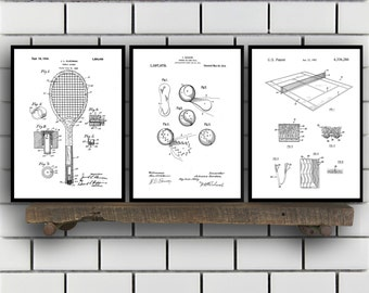 Tennis Patents Set of 3 Prints, Tennis Prints, Tennis Posters, Tennis Blueprints, Tennis Art, Tennis Wall Art, Sport Prints, Sport Art Sp319