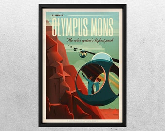 SPACEX MARS POSTER, Olympus Mons, Space travel posters, Retro Space Designs, SpaceX Mars, Retro Space, Space Poster, Space sp500c