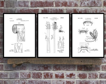 Bathroom Poster, Bathroom Art, Bathroom Decor, Bathroom Art, Toilet paper, Toilet Seat, Tooth Brush, Bathroom Wall Art, Bathroom 3 set SP573