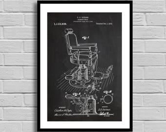 Barber's Chair Patent Barber's Chair  Patent Poster Barber's Chair Blueprint Barber's Chair Print Gifts for Him Vintage Barbershop p1398
