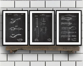Cutlery Patent Set of THREE, Cutlery Invention Patent, Silverware Poster, Cutlery Print, Cutlery Patent, Cutlery Inventions SP217