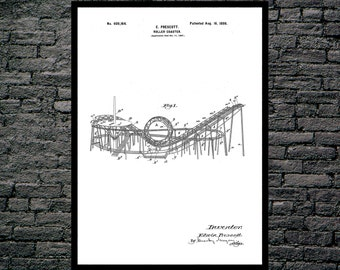 Roller Coaster Patent, Roller Coaster Poster, Roller Coaster Print, Roller Coaster Art, Roller Coaster Decor, Roller Coaster Wall Art p1210