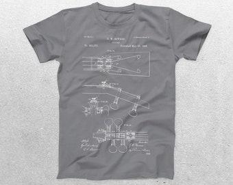 Guitar Patent T-Shirt, Guitar Blueprint, Patent Print T-Shirt, Guitarist Shirt, Musician Gift, Band tee, patent shirt p820