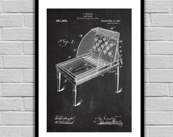 Vintage Skee Ball Patent, Skee Ball Arcade Game Poster, Skee Ball Blueprint,  Skee Ball Print, Skee Ball Art, Skee Ball Decor p1345