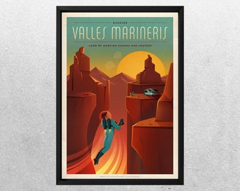SPACEX MARS POSTER, Valles Marineris, Space travel posters, Retro Space Designs, SpaceX Mars, Retro Space, Space Poster, Space sp500b