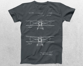 Airplane Patent T-Shirt, Airplane Blueprint, Patent Print T-Shirt, Wright Brothers Airplane, Aircraft T-Shirt, Pilot Gifts p357