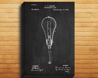CANVAS  Light Bulb Art Light Bulb Print Light Bulb Patent Light Bulb Decor Light Bulb Blueprint Thomas Edison Art p09