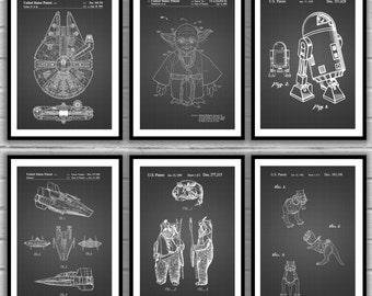 Star Wars patent, Millennium Falcon, Tie Bomber, X-wing, AT-AT, Star Wars Poster, Star Wars Patent, Millennium Falcon Star Wars Print SP562