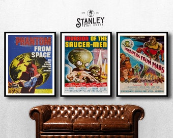 MOVIE posters set of 3 vintage movies Classic Horror Movie invasion of the saucer man Poster Art Vintage Print Art Home Decor monster sp591