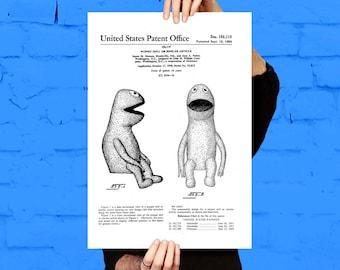 Jim Henson Muppet Patent, Jim Henson Muppet Poster, Jim Henson Muppet Print, Jim Henson Muppet Art, Jim Henson Muppet Blueprint p180