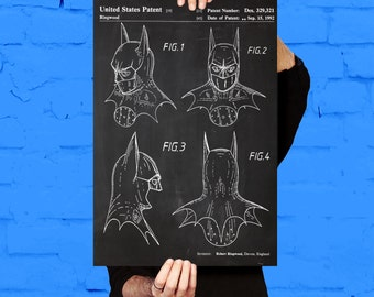 Batman Mask Print Batman Mask Patent Batman Mask Poster Batman Mask Art Batman Mask Decor Batman Mask p912