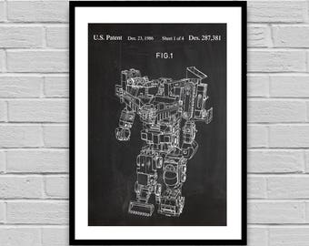 80's Robot Patent, Robot Patent Poster, Robot Blueprint, Robotics, decor, Gift for him, patent, collectibles, science gifts p1177
