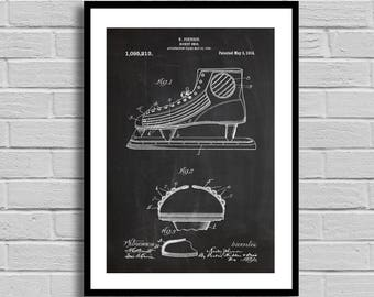 Hockey Skate Patent, Hockey Skate Patent Poster, Hockey Skate Blueprint, Hockey Skate Print,Sports decor, Hockey Decor, Vintage,Athlete p826