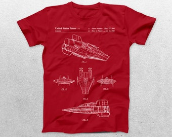 Star Wars A Wing Patent T-Shirt, A Wing Blueprint, Star Wars Patent Print T-Shirt, Star Wars T-Shirt, Star Wars Gifts, p922