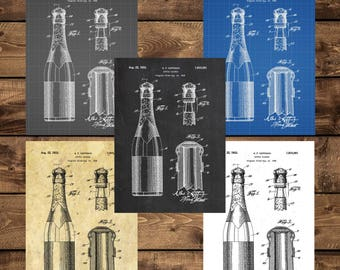 INSTANT DOWNLOAD -Bottle Closure Patent, Bottle Closure Poster, Bottle Closure Blueprint, Bottle Closure Decor, Champagne