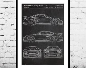 Porsche 911 Patent, Porsche 911 Poster, Porsche 911 Print, Porsche 911 with Spoiler, Porsche Art p918