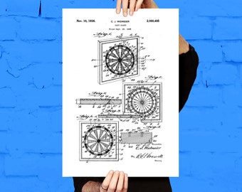Dart Board Patent, Dart Board Poster, Dart Board Print, Dart Board Art, Dart Board Decor, Dart Board Blueprint, Dart Board Game, p1196