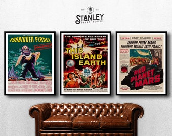 MOVIE posters set of 3 vintage red planet mars Classic Horror space poster forbidden planet Poster Art Vintage Print Art Home Decor sp599