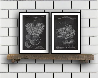 Harley Davidson Patent Posters Group of 2 Harley Davidson Prints Vintage Motorcycle Motorcycle Parts Motorcycle Harley Patent SP286