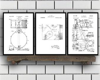 Drum Patents Set of 3 Prints, Drum Prints, Drum Posters, Drum Blueprints, Drum Art, Drum Wall Sp315