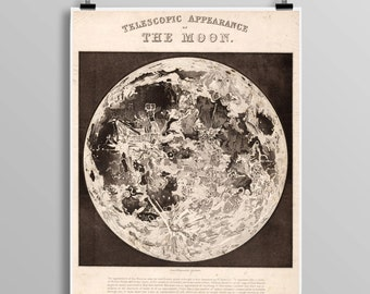 Vintage Telescopic View Of The Moon, Full Moon Map Reproduction, Science Student, Lunar Astronomy Wall Art Print, Astronomer Gift Idea 0419