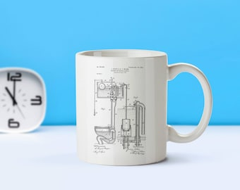 Toilet patent mug  coffee mug  coffee lover  patent art  patent mug Bathroom Decor Plumber Gift Vintage Home Decor Toilet MugM9