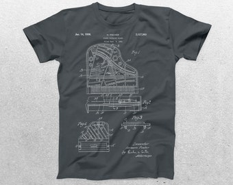 Piano Patent T-Shirt, Piano Blueprint, Patent Print T-Shirt, Musician T-Shirt, Pianist T-Shirt, Piano Teacher Gift p844