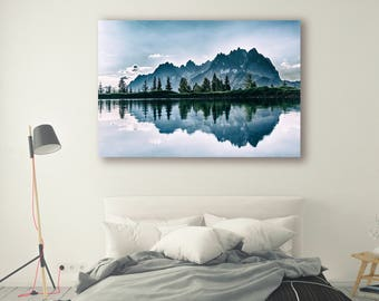 Mountain Photography canvas framed Wall Art Print Outdoor Gift Mountain Wall Decor Mountain Print Mountains reflection Nature Photo  PH013