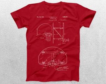 Basketball Hoop Patent T-Shirt, Basketball Hoop Blueprint, Patent Print T-Shirt, Basketball Player Shirt, Basketball Coach Gift p425