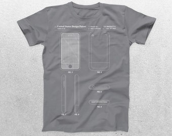 iPhone Patent T-Shirt, iPhone Blueprint, Patent Print T-Shirt, iPhone Shirt, Technology Shirt, Apple iPhone Shirt p625