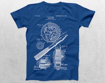 Fishing Reel Patent T-Shirt, Fishing Reel Blueprint, Patent Print T-Shirt, Fishermen Shirt, Fishing Reel Shirt p784