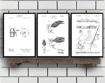 Fishing Patent Prints - Set of THREE - Fishing Rod and Reel Poster Fishing lure Fishing Patents Fishing Decor sp95