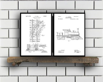 Train Patents Set of 2 Prints Train Prints Train Posters Train Blueprints Train Art Train Wall Art Train Prints Train Art Sp323