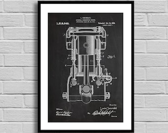 Chevrolet Internal Combustion Engine Patent, Internal Combustion Engine Patent Poster,Combustion Engine Blueprint,Combustion Engine p1097