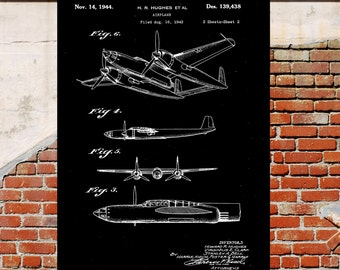 Hughes Airplane Poster Hughes Airplane Patent Airplane Print Hughes Airplane Art Hughes Airplane Decor Airplane art Flying pilot p391